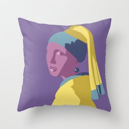 Girl with a Pearl Earring Pop Art Throw Pillow