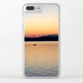 Olympic Mountains Sunset Clear iPhone Case