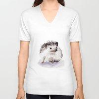 hedgehog V-neck T-shirts featuring Hedgehog by Bridget Davidson