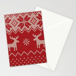 Christmas pattern knitting handmade scandinavian iIllustration with reindeer and heart Stationery Cards