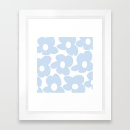 Large Baby Blue Retro Flowers White Background #decor #society6 #buyart Framed Art Print