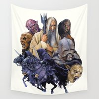 lord of the rings Wall Tapestries featuring SARUMAN the WHITE - LORD OF THE RINGS  by ROY  AIUTO