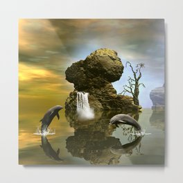 Playing dolphins  Metal Print