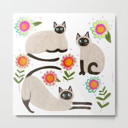 Siamese Cats and flowers Metal Print