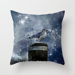 One Legged Seagull in a Snowstorm with Stars in His Eyes Throw Pillow