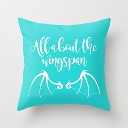 All About the Wingspan blue design Throw Pillow
