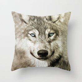 Smokey Sketched Wolf Throw Pillow
