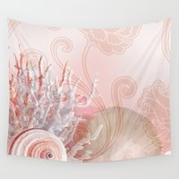 seashell Wall Tapestries featuring SEASHELL DREAMS | pink by Cheryl Daniels