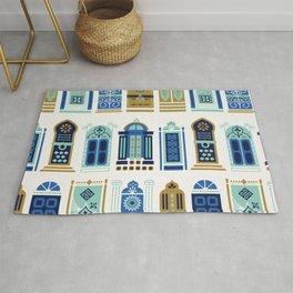 Moroccan Doors – Blue & Gold Palette Rug