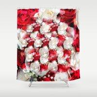 wedding Shower Curtains featuring Wedding Roses by MehrFarbeimLeben