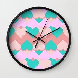Multi Hearts Pink Teal Dogwood Wall Clock