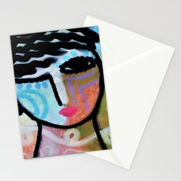 Happy Abstract Digital Portrait of a Woman Stationery Cards