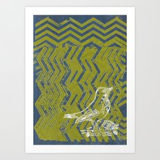 Chevron Bird Art Print