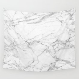 White & Gray Marble Texture Print Wall Tapestry