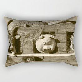 Barnyard Float-Goat, Pig, & Chicken-Sepia Rectangular Pillow