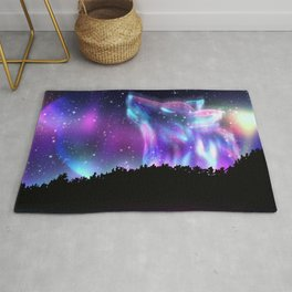 Northern landscape with howling wolf spirit and aurora borealis Rug