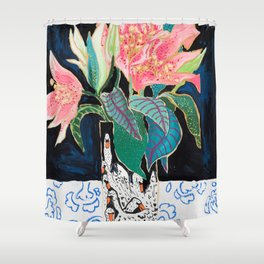 Swan Vase with Pink Lily Flower Bouquet on Dark Blue and Black Winter Floral Shower Curtain