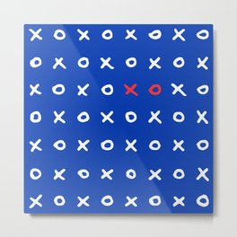 XoXo Print Pattern Blue Red French Style Love Print Metal Print