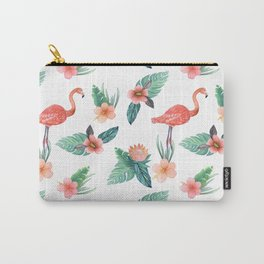 Flamingo Coral Exotic Floral with palms , hibiscus and protea Carry-All Pouch