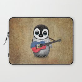 Baby Penguin Playing Haitian Flag Acoustic Guitar Laptop Sleeve