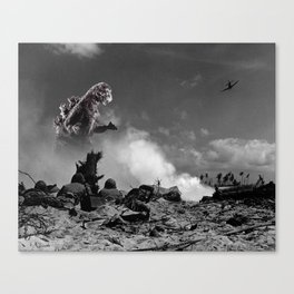Old Time Godzilla World War II Canvas Print