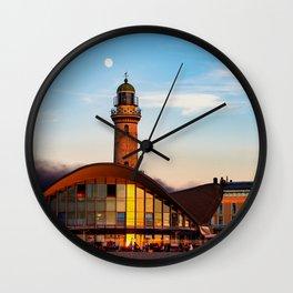Seaside resort Warnemünde the moon says goodbye to the sun Wall Clock