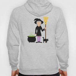Cute Witch Girl And A Black Cat Halloween Design Hoody