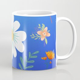 Random Floral Pattern 21 Electric Blue Gradient Background Color Coffee Mug