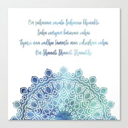 Watercolor Om Shaanti Yoga Opening Prayer Mandala Canvas Print