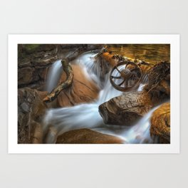 Coal Mining Wagon Wheel in waterfall Art Print