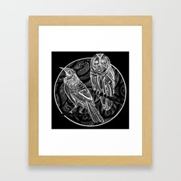 Tui and Morepork - Dark Framed Art Print