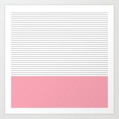 Minimal Gray Stripes - Pink Art Print
