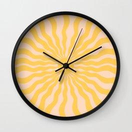 Sun Rays Yellow Wall Clock