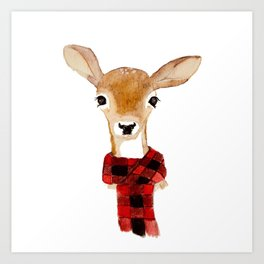 Fawn with buffalo check scarf Art Print