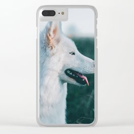 White Wolf Tongue Out (Color) Clear iPhone Case