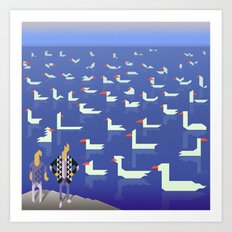 Birds Fly By Flipping Their Triangles Art Print