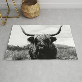 Scottish Highland Cattle Black and White Animal Rug