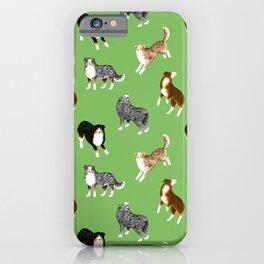 Australian Shepherd Pattern (Green Background) iPhone Case