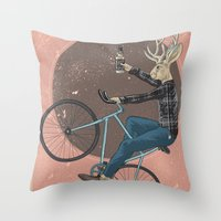 jackalope Throw Pillows featuring Jackalope by Kelli Shaver