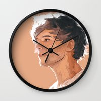 louis tomlinson Wall Clocks featuring Louis Tomlinson  by Danny Spikes