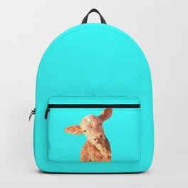 Baby Cow Turquoise Background Backpack