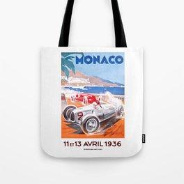 1936 Monaco Grand Prix Race Poster  Tote Bag