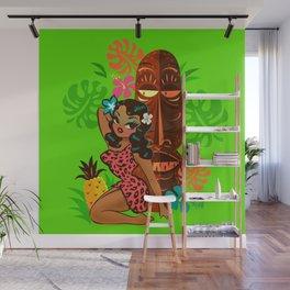 Retro Tiki Temptress in PInk Leopard Print Wall Mural