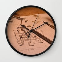 r2d2 Wall Clocks featuring R2D2 by radiantlee