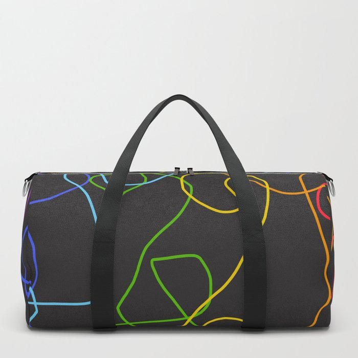 Dark Classic Freehand Abstract Minimal Retro Style Crooked Lines Duffle Bag