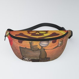 Funny pirate monkey with flag Fanny Pack