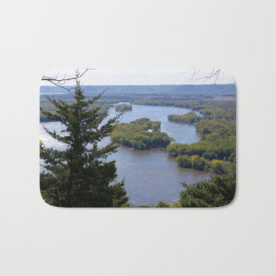 Upper Mississippi River, looking downriver from Buena Vista Park, Alma, WI Bath Mat