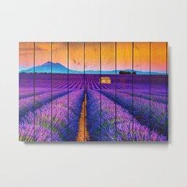 Faux Wood Texture Lavender Fields and Sunset Landscape Photograph Metal Print