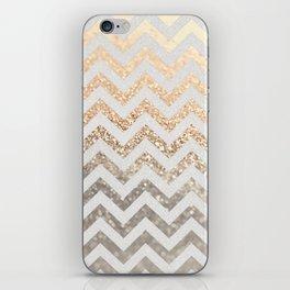 GOLD & SILVER CHEVRON iPhone Skin