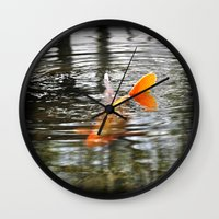 koi fish Wall Clocks featuring Koi Fish by Aldari Photo